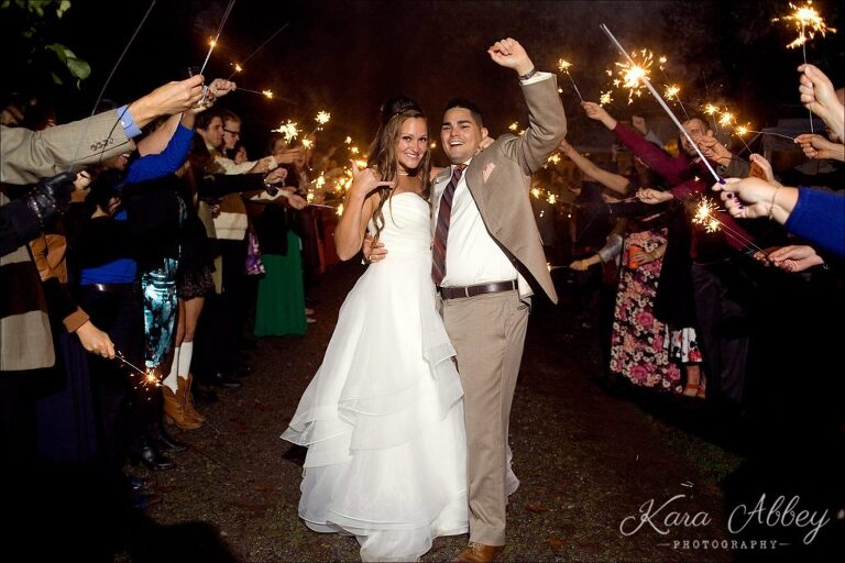 Rainy Day Wedding Photographer Tioga Gardens Owego, NY Sparkler Exit