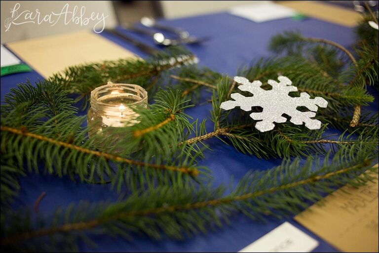 pa winter in paris themed bridal shower fresh pine as a table runner silver snowflakes